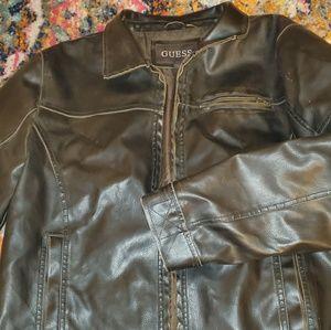 Guess chocolate vegan leather men's jacket
